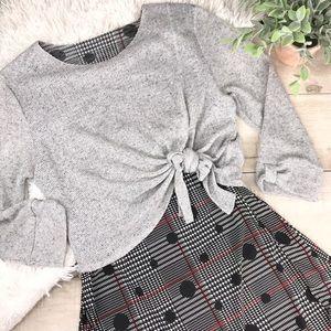 Tops - Light Gray Overlay Top Over Checkered Sheer Blouse